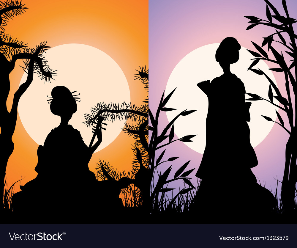 Japanese cards geisha silhouettes at sunset vector