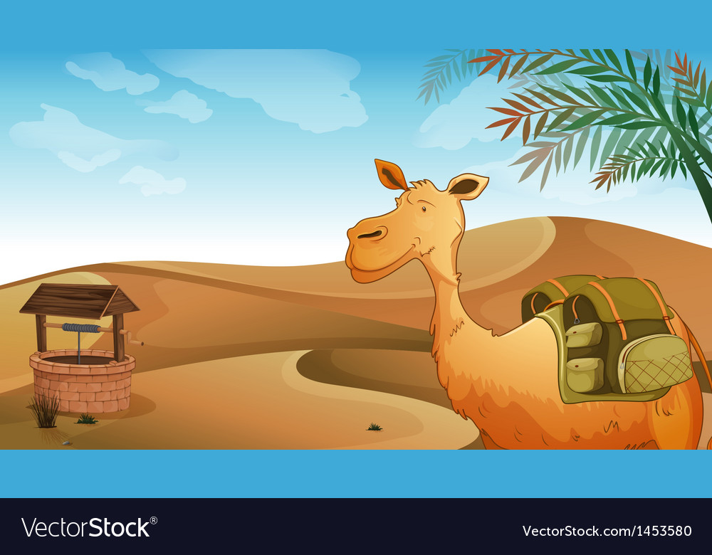 A camel with a well at the desert vector