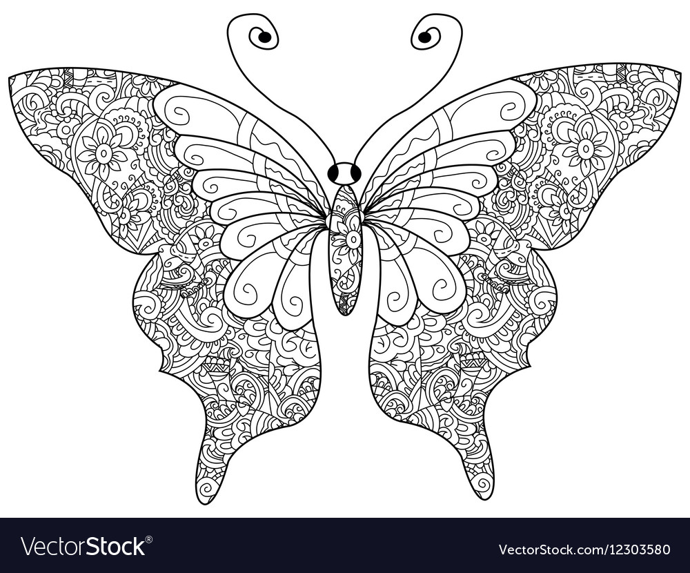 Butterfly coloring book for adults vector