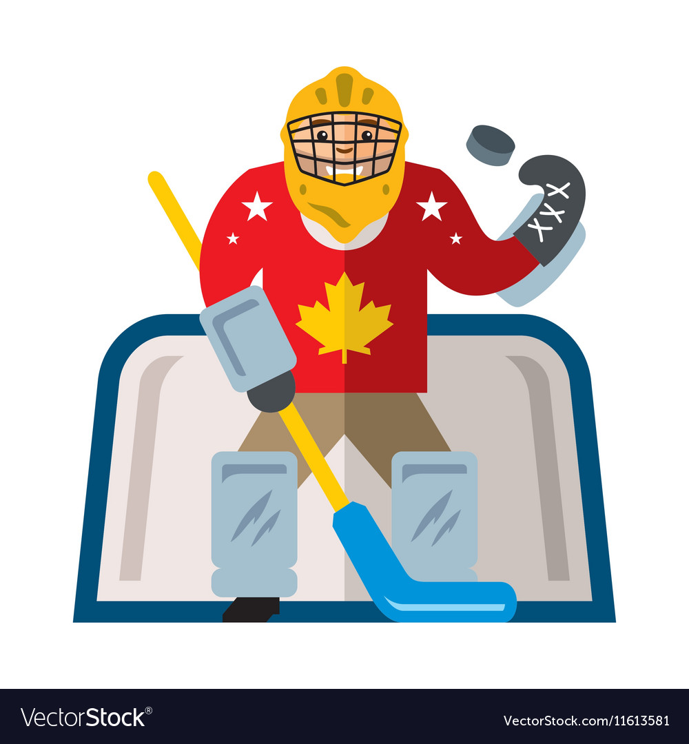 Hockey goalkeeper flat style colorful vector