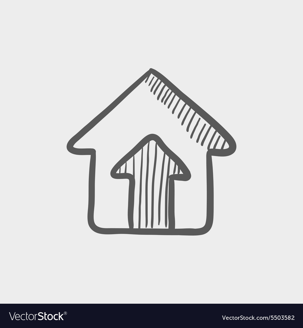 House entrance sketch icon vector