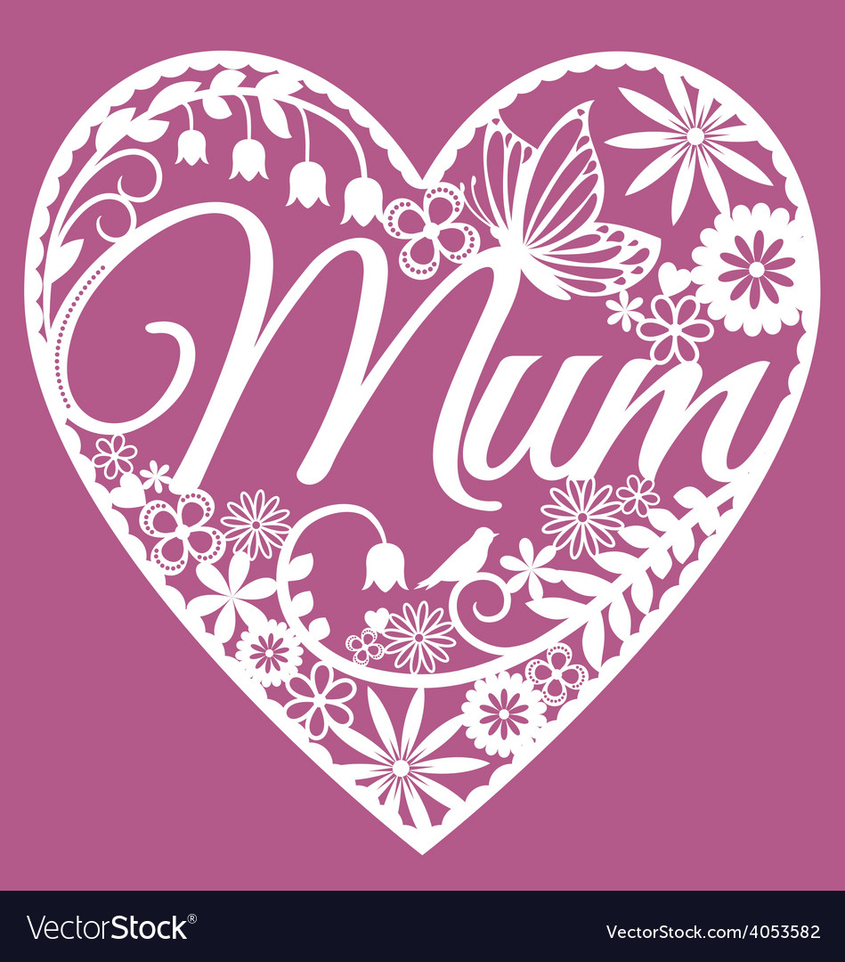 Mum papercut heart white on pink vector