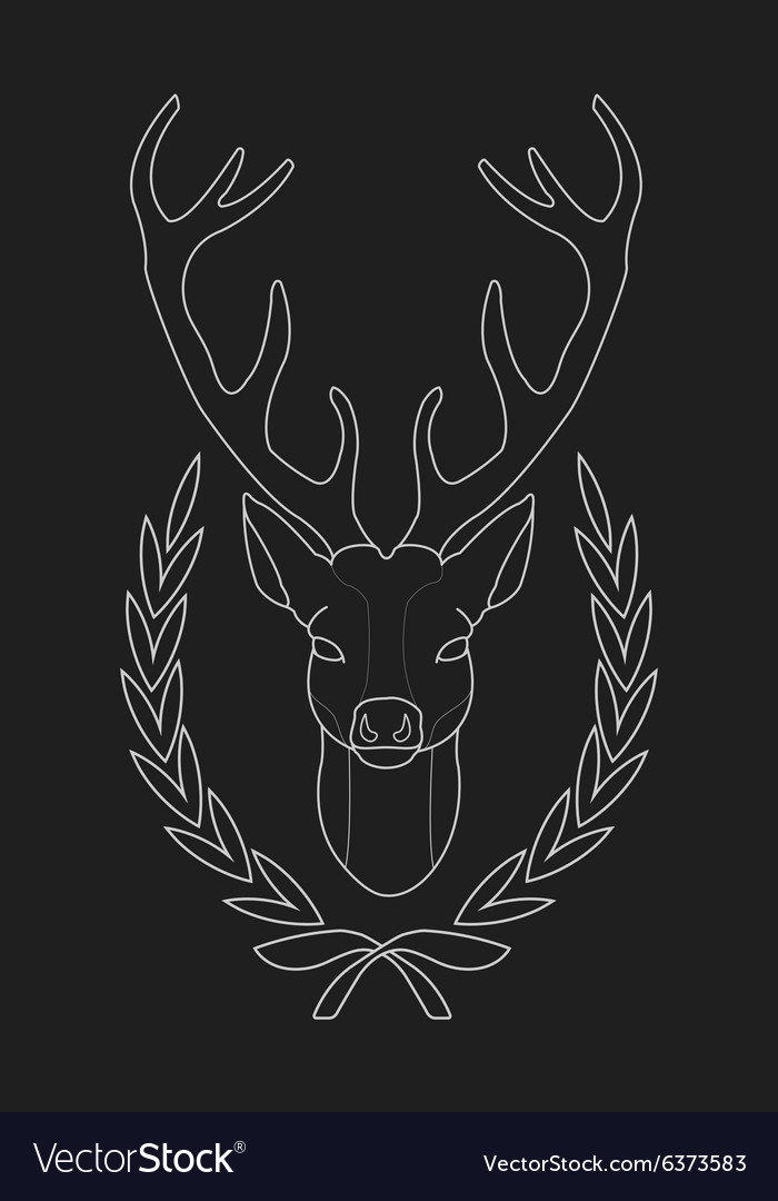 Deer head in laurel wreath heraldry emblem chalk vector