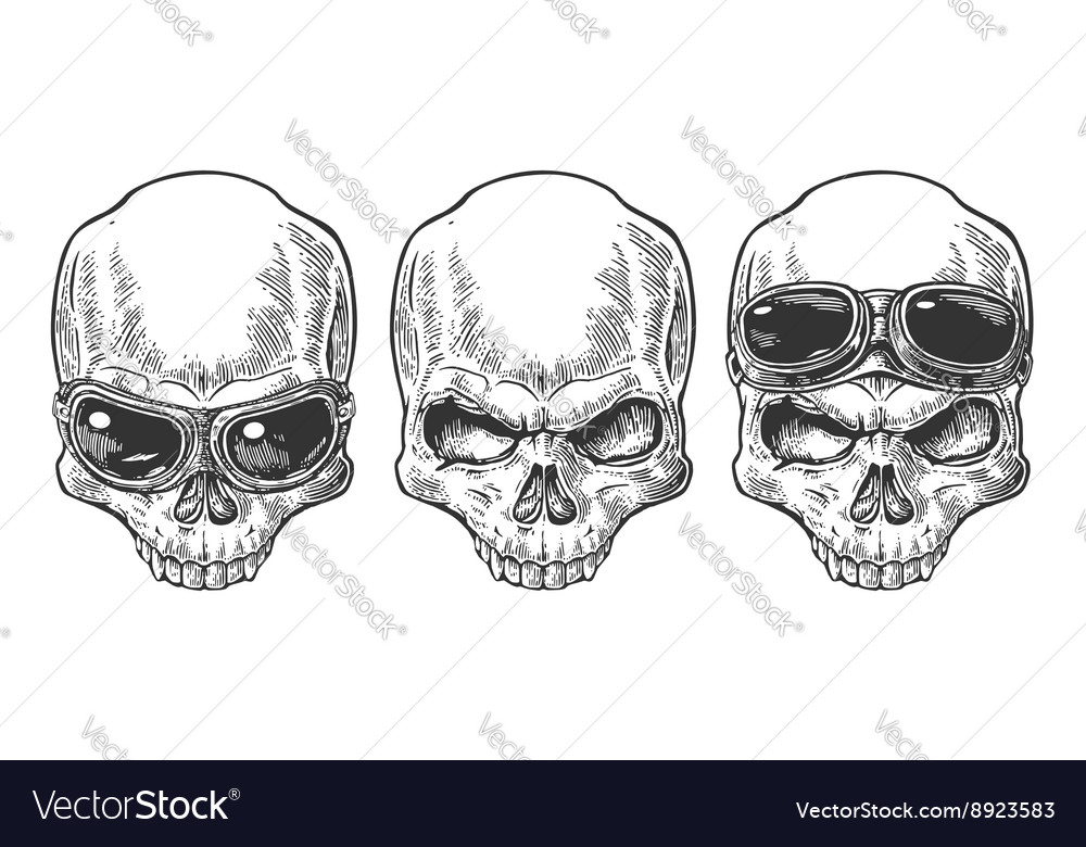 Skull with glasses for motorcycle vector