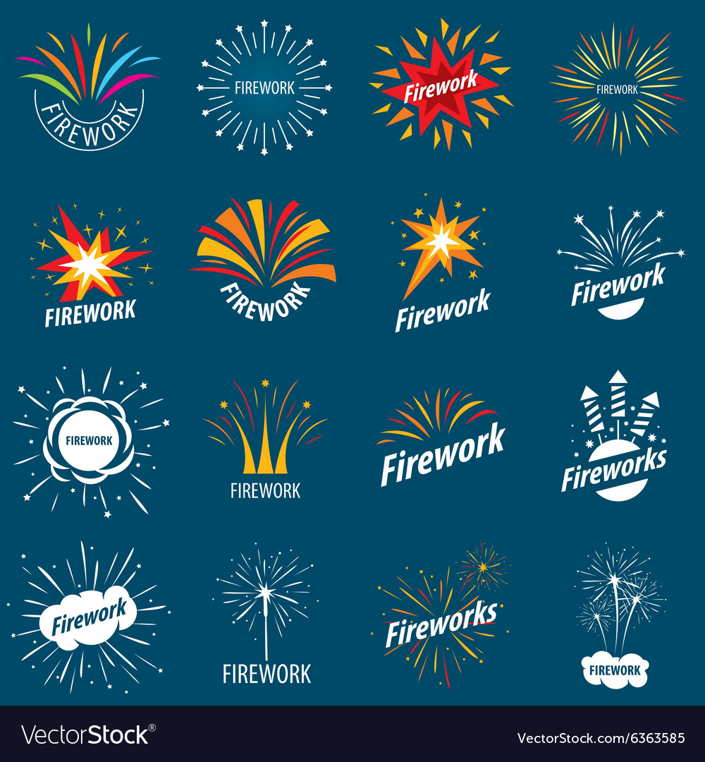Biggest collection of logos for fireworks vector