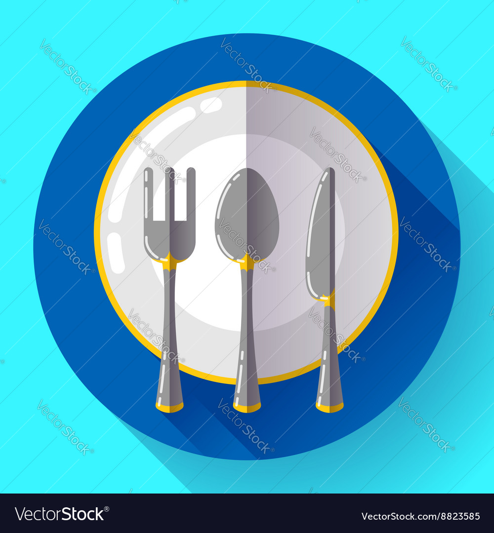 Dishes  plate knife and fork icon flat vector