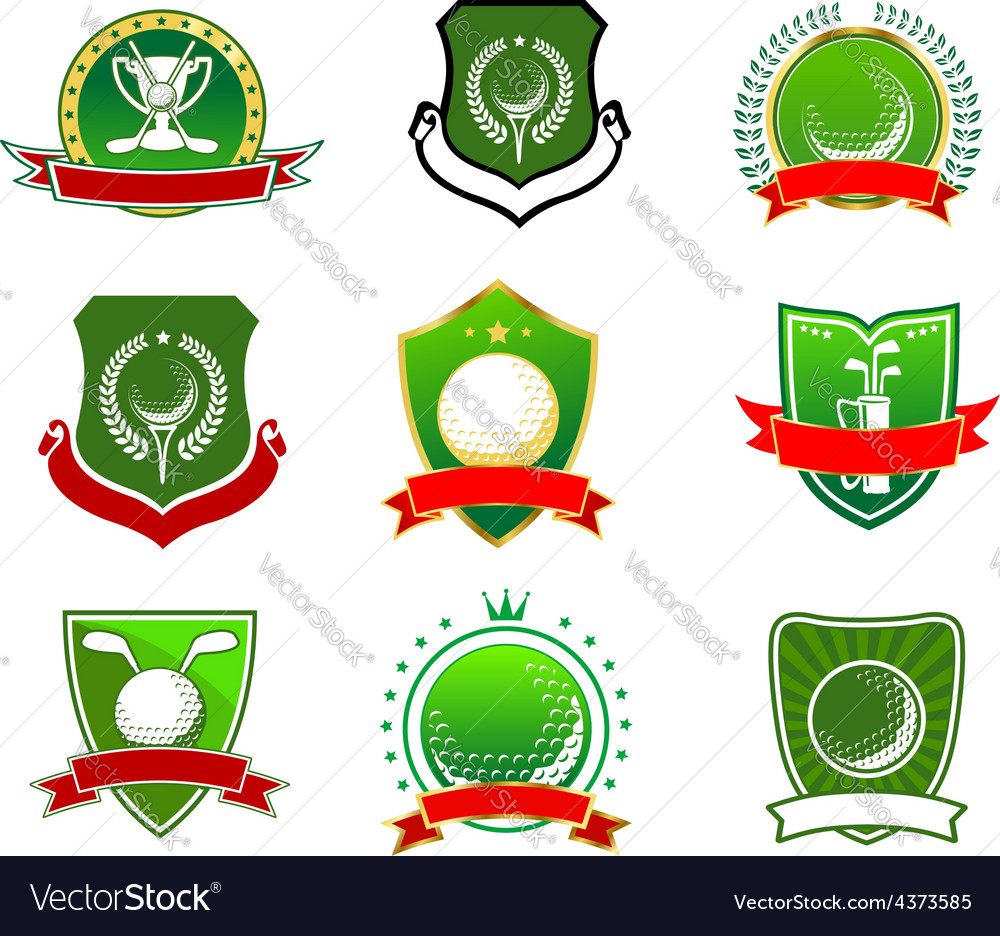 Golf emblems and logos in heraldic style vector