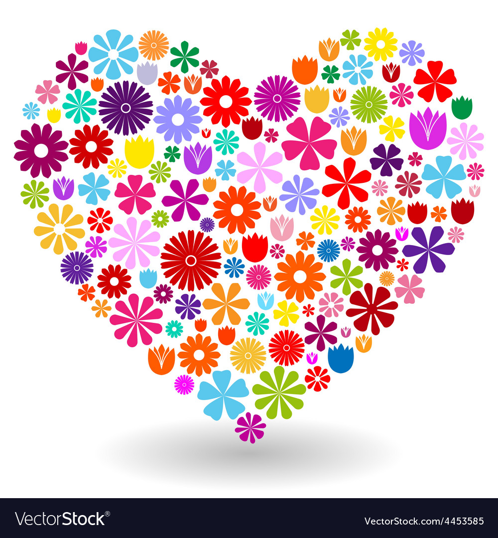 Heart made of flowers vector