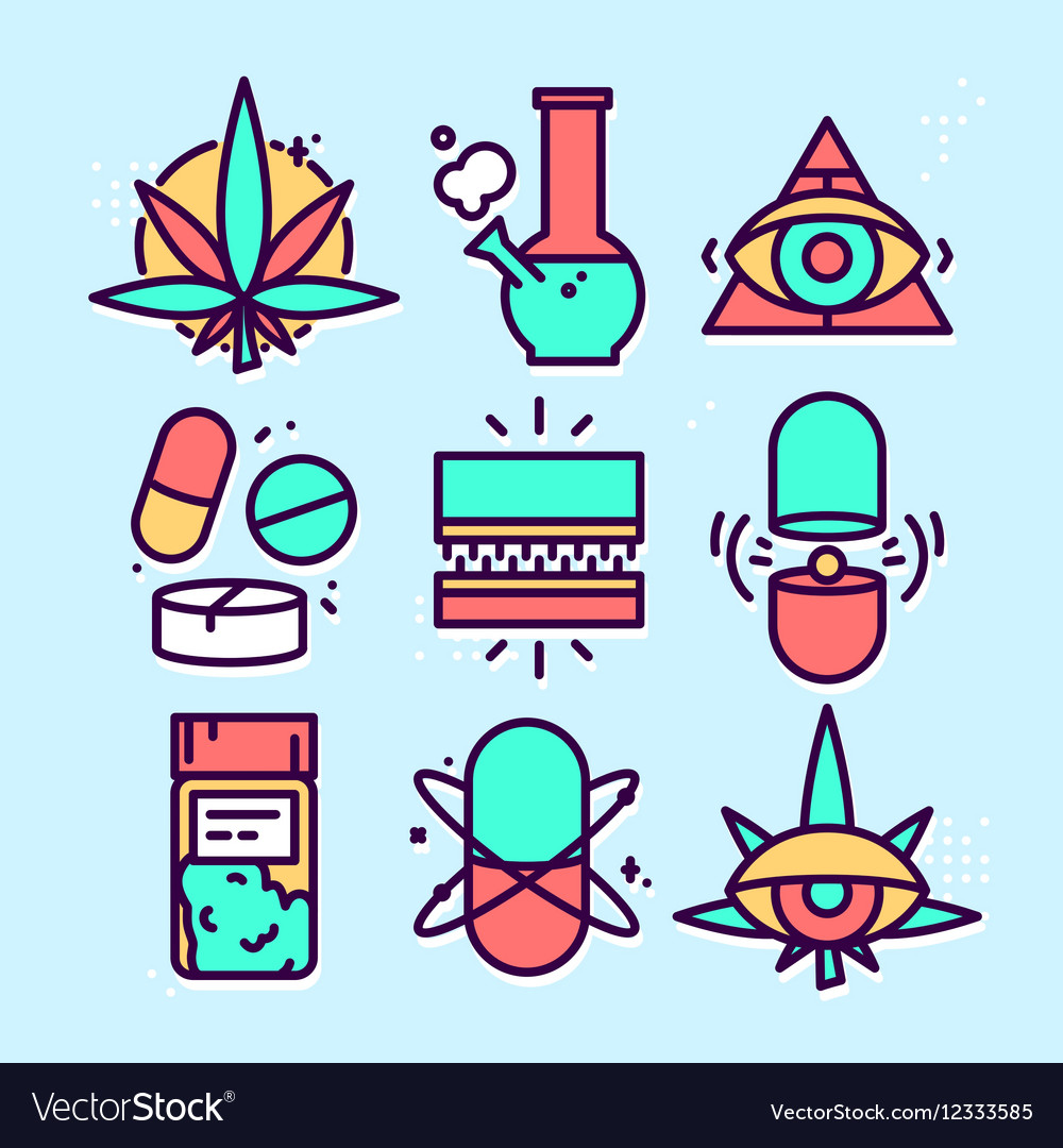 Medical marijuana cannabis icon set vector