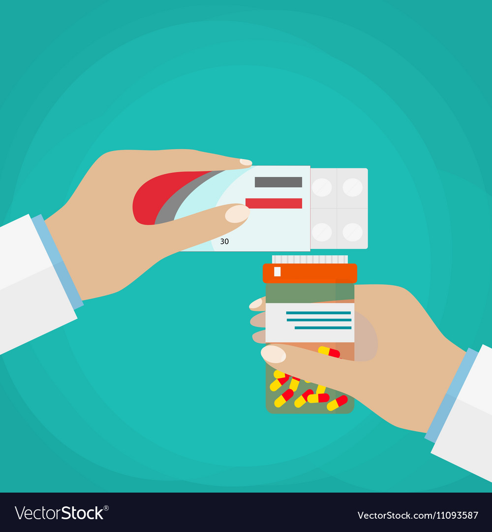 Doctor hand holding box of pills and jar capsules vector