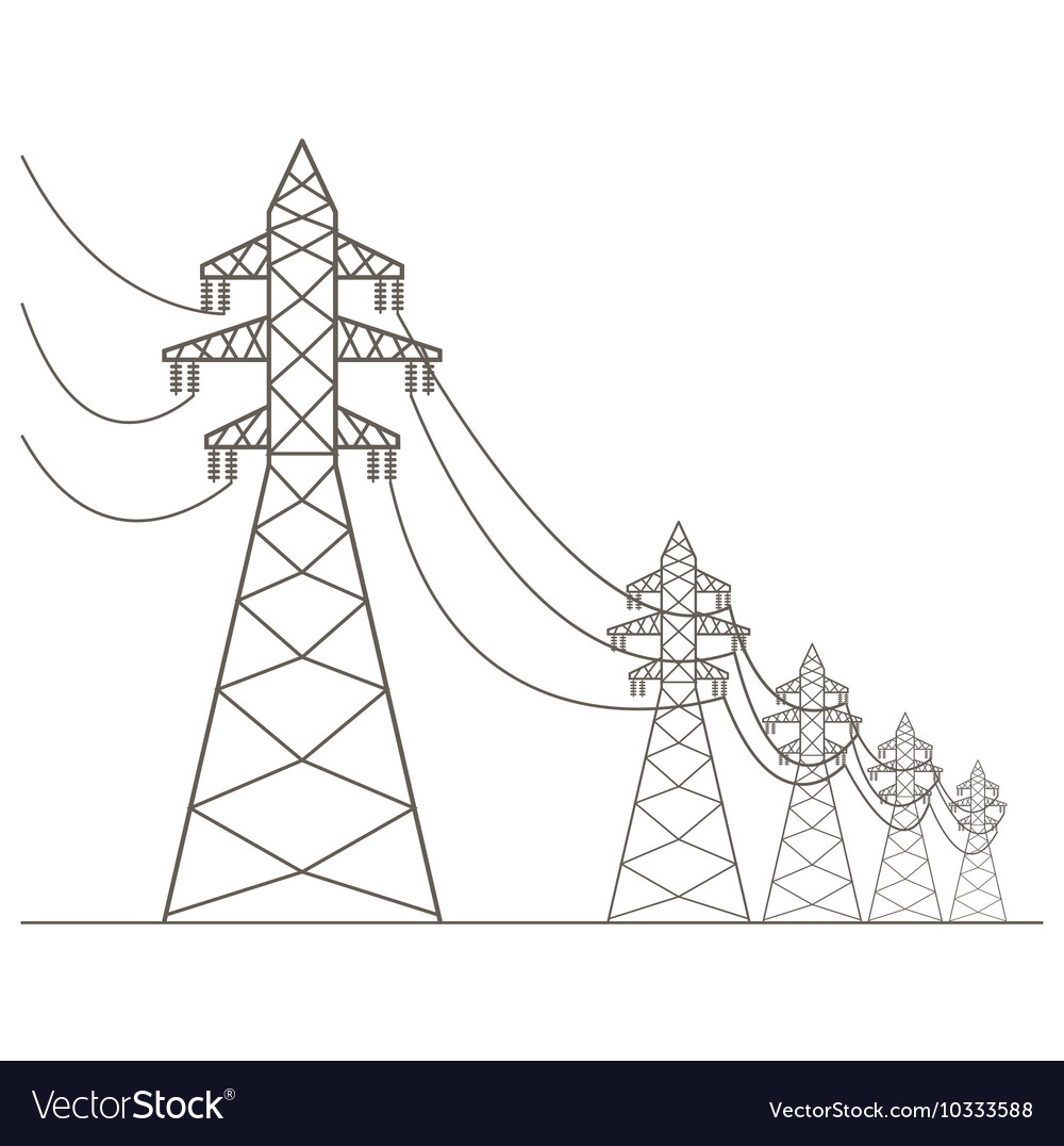 High voltage electric line pylon icon set suitable vector