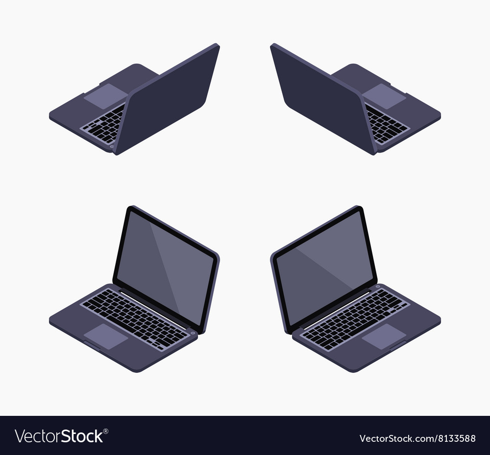 Isometric black laptop vector