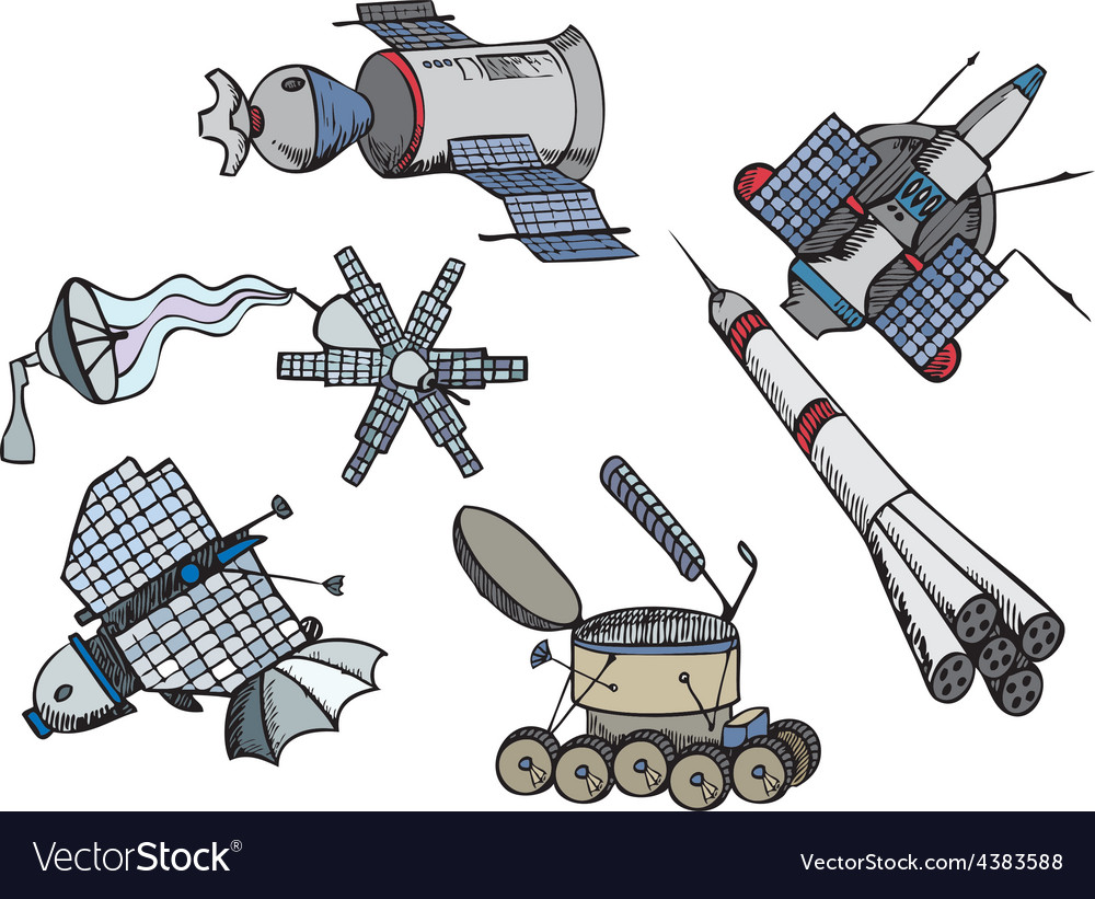Many different color spacecrafts vector