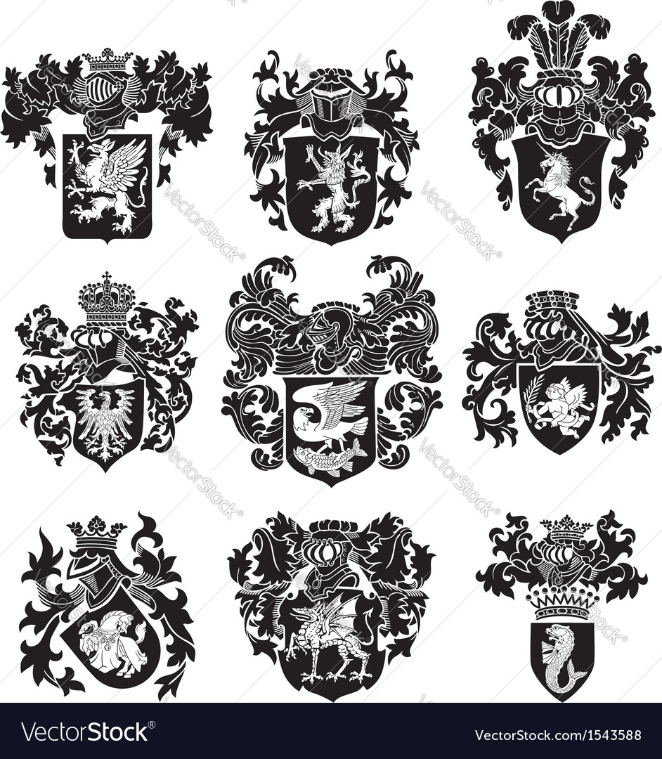 Set of heraldic silhouettes no3 vector