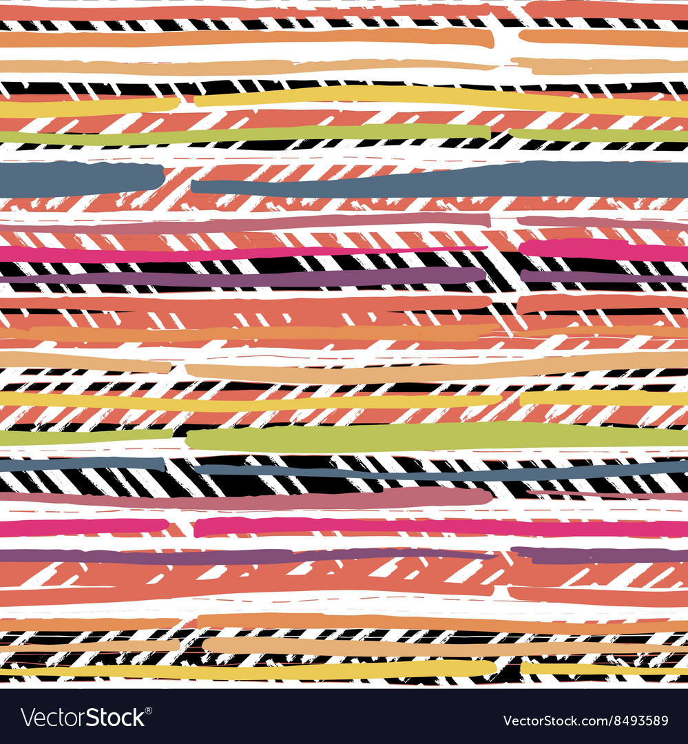 Abstract hand drawn colors stripes pattern vector