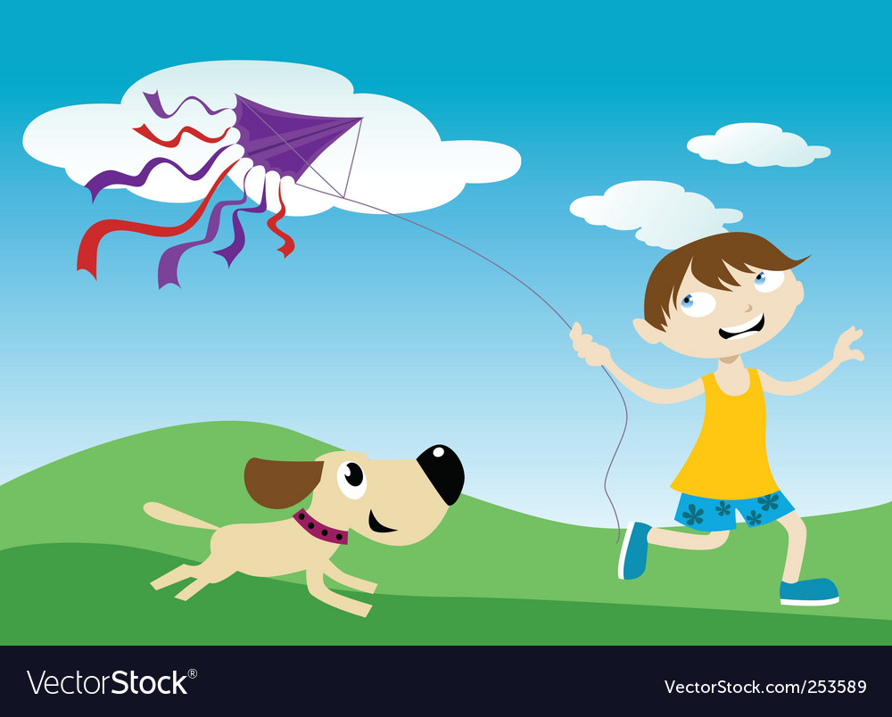 Flying a kite vector