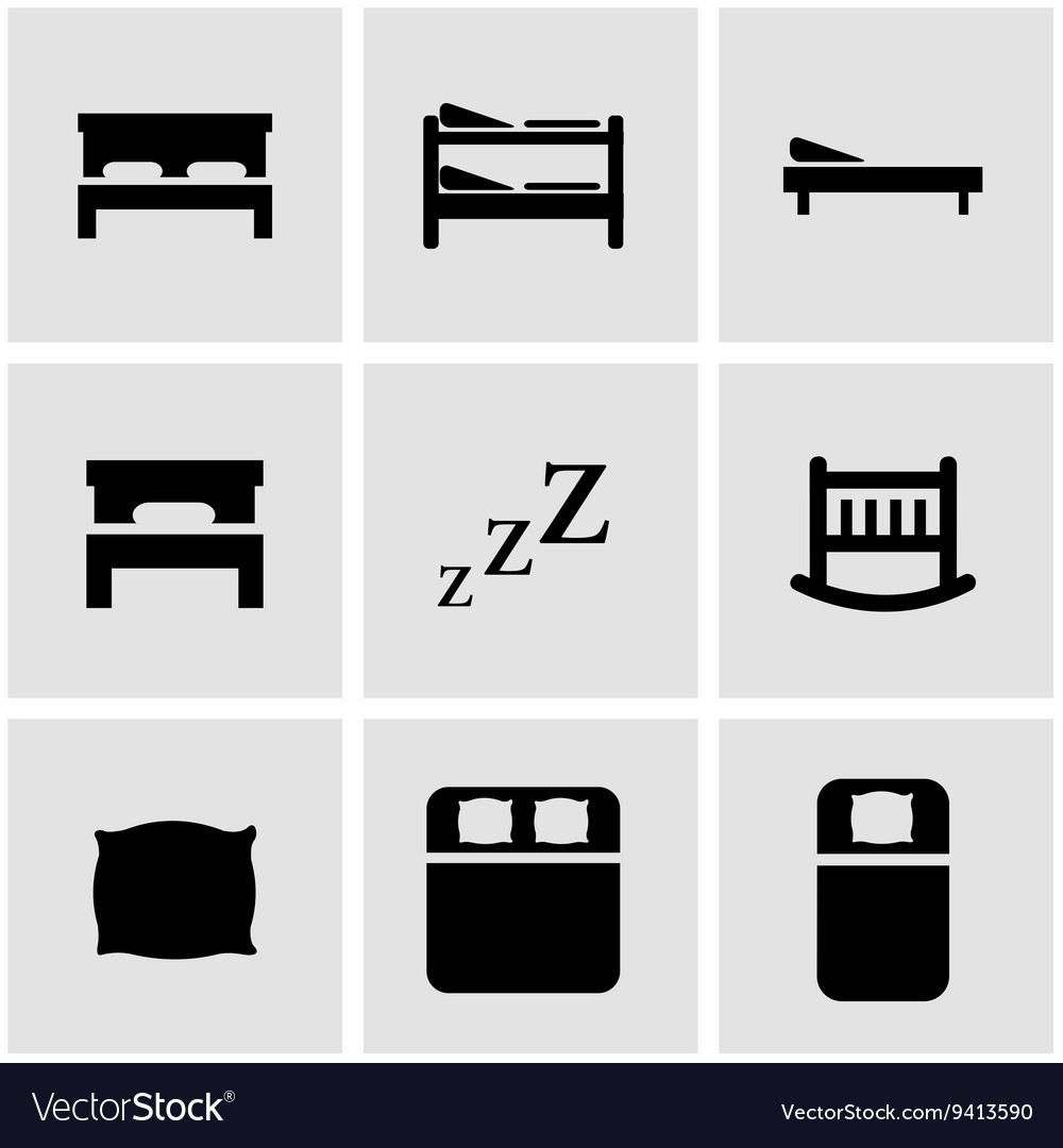 Black bed icon set vector