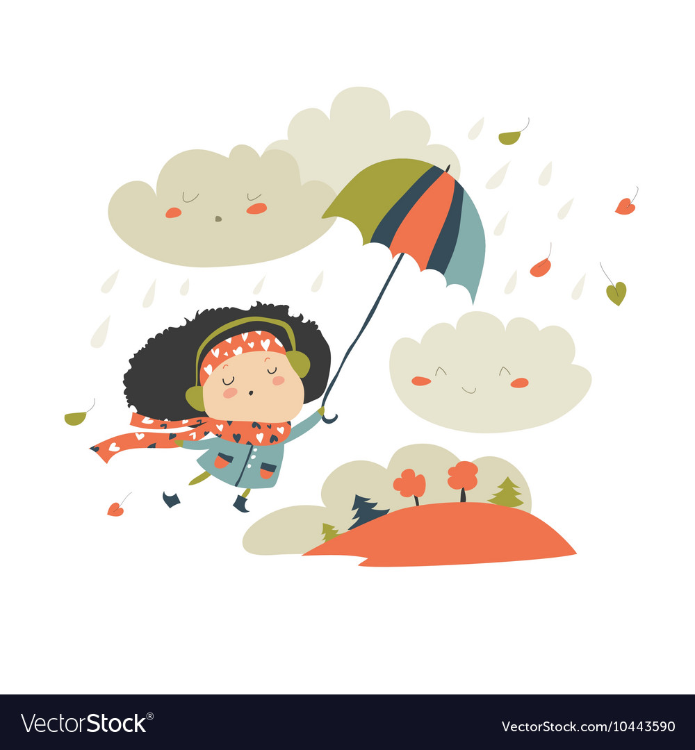 Girl flying with umbrella vector