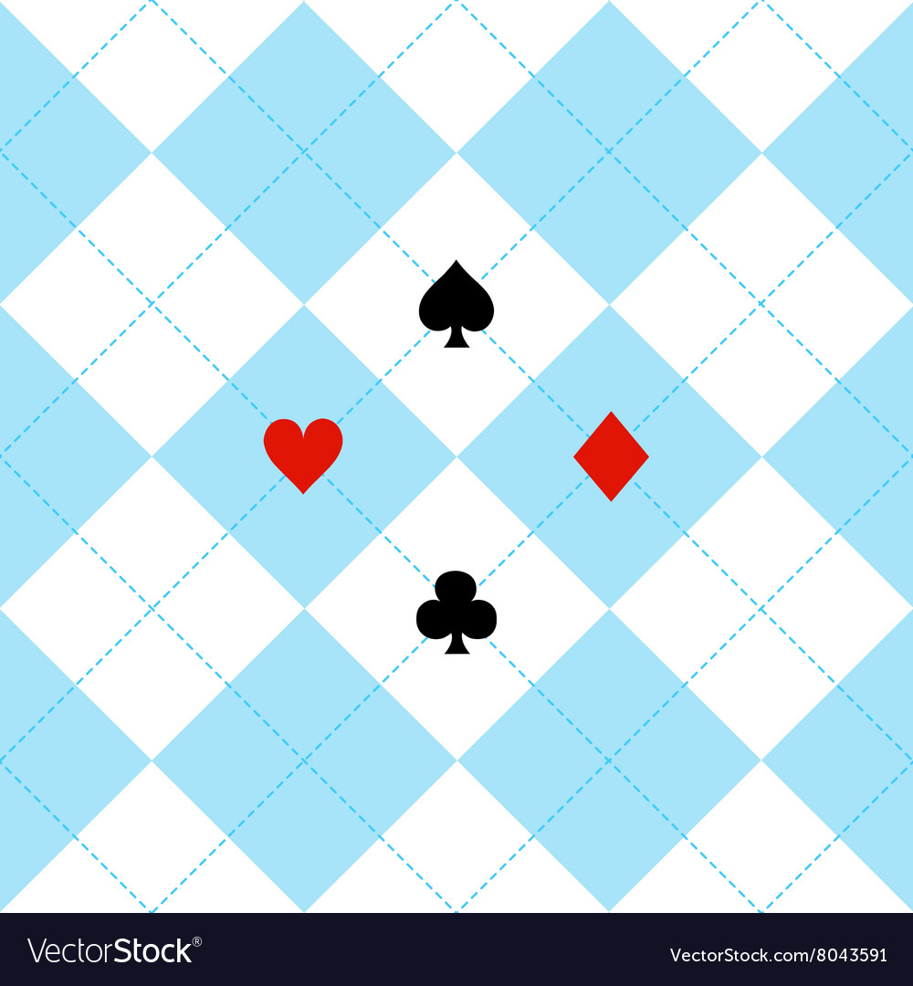 Card suits blue white diamond background vector