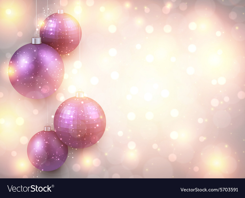 Golden background with purple christmas balls vector