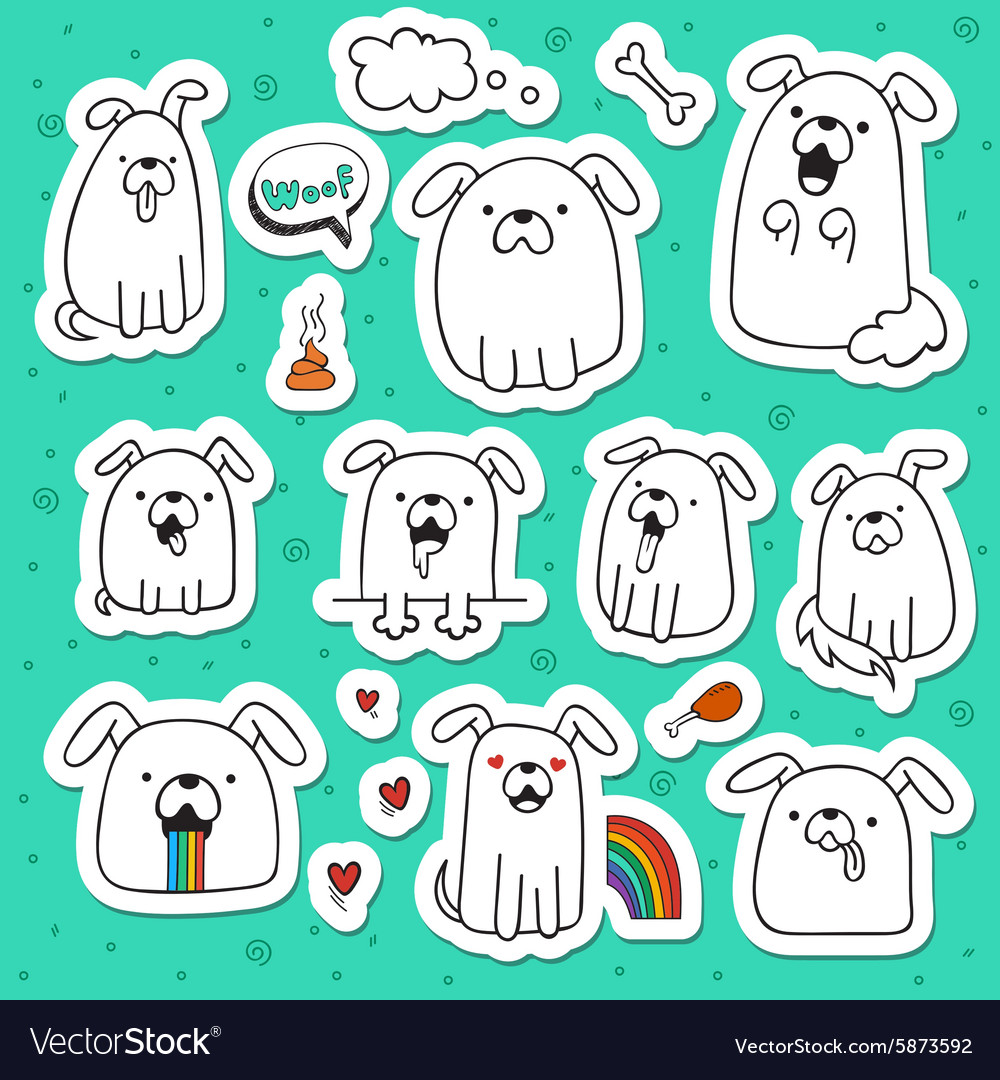Set of 10 dogs doodle handmade stickers dogs with vector