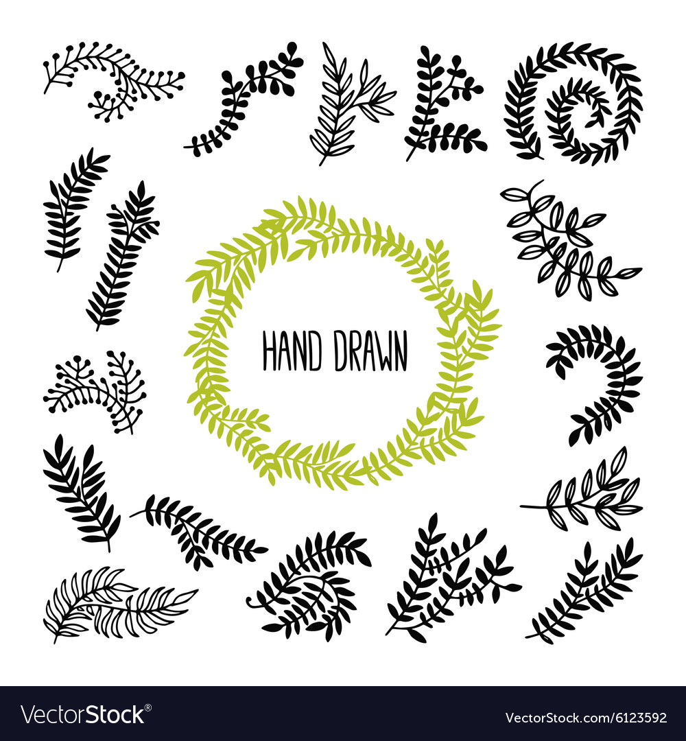 Set of hand drawn laurels wreath branches vector
