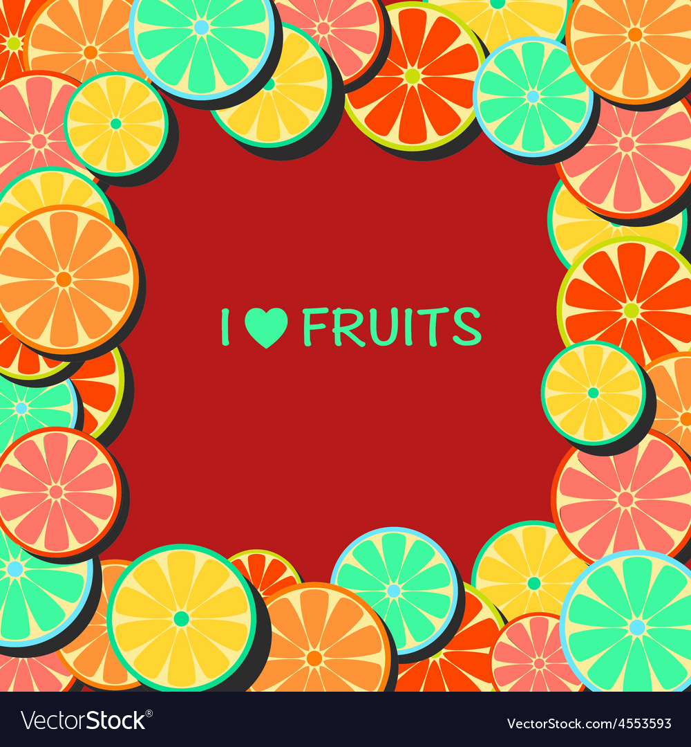 Flatframe with citrus vector