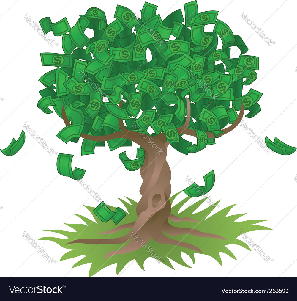 Money growing on tree vector