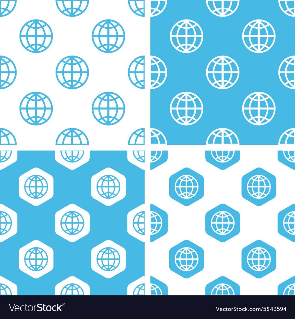 Globe patterns set vector