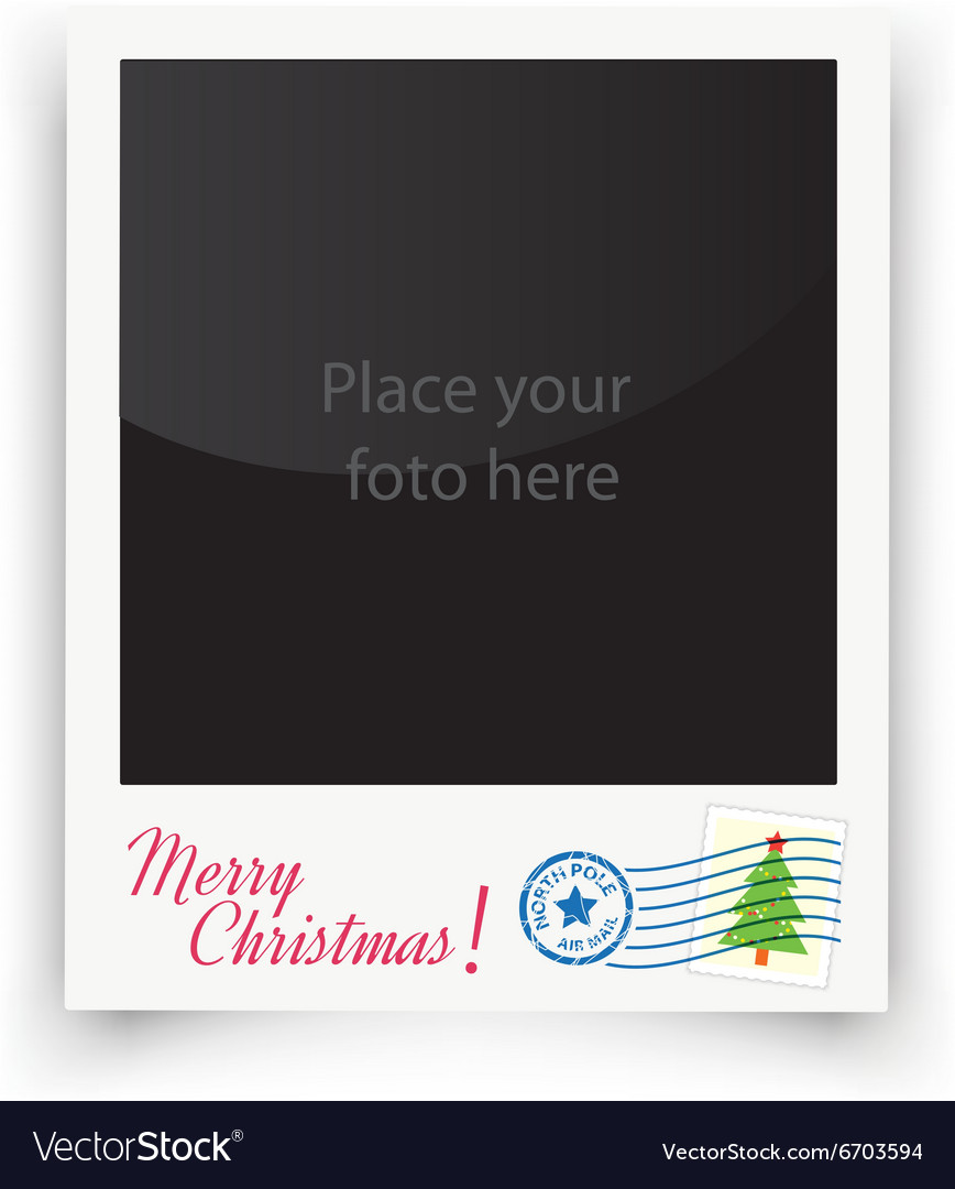 Template photo frames polaroid christmas vector