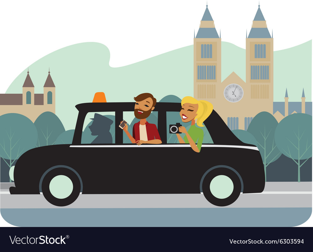 Young tourists in taxy vector