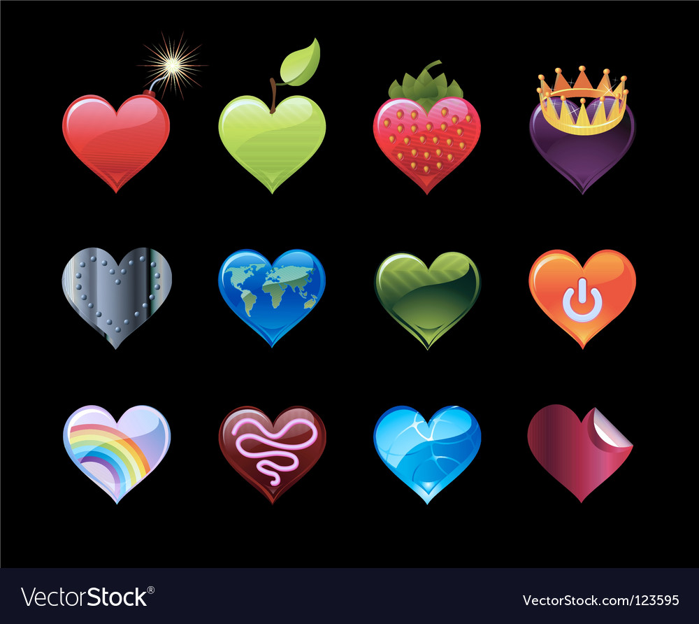 Heart icons vector