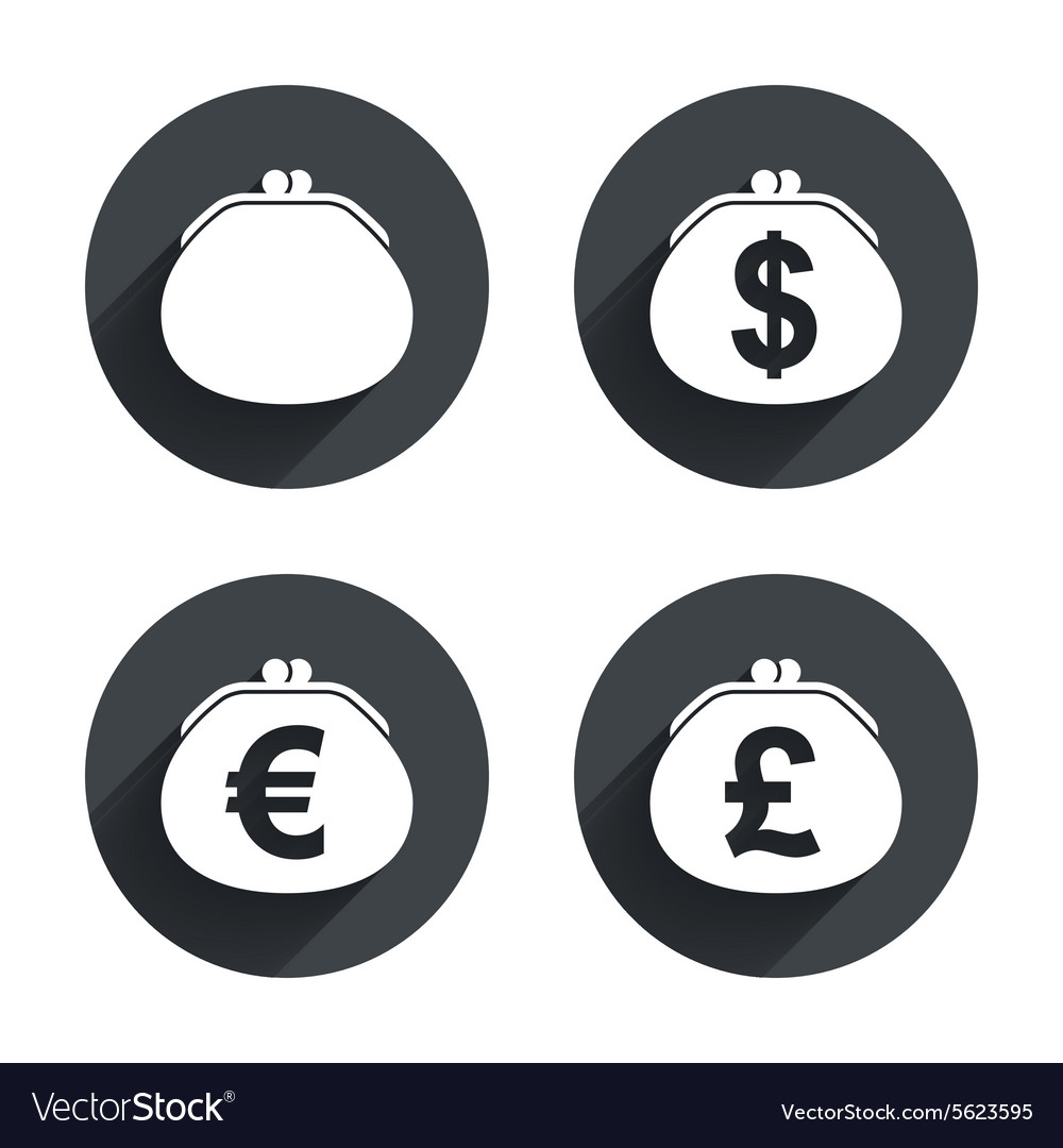Wallet with dollar euro icons cash bag signs vector