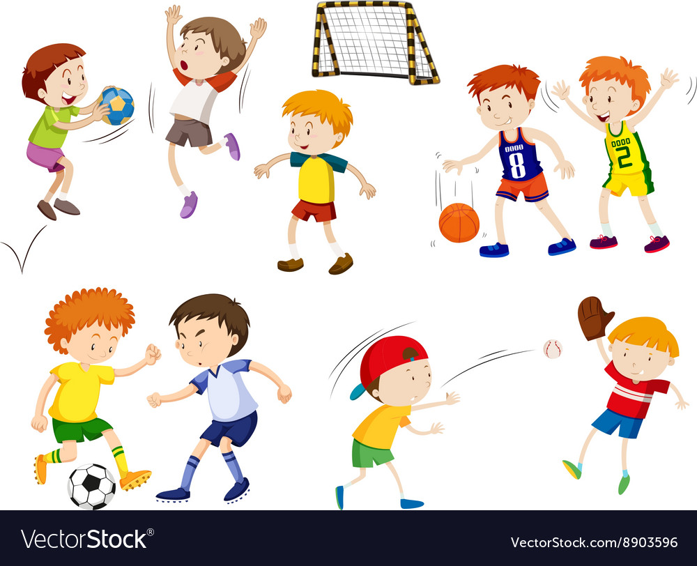 Boys playing different sports vector