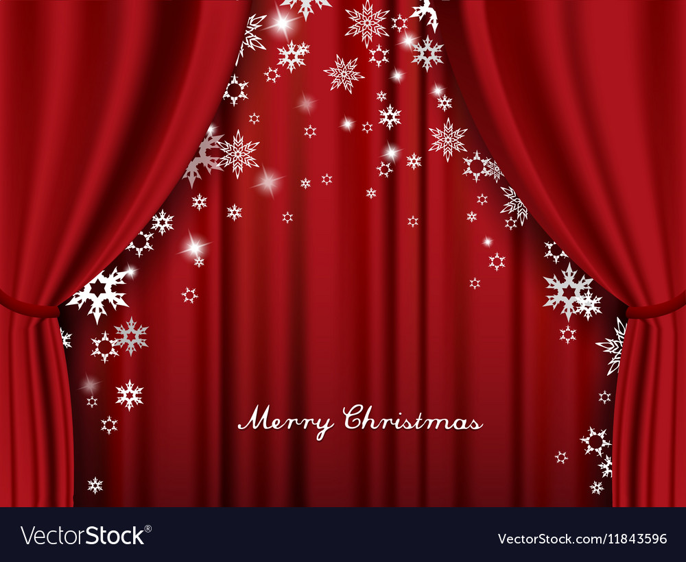 Christmas greeting card with red heavy theater vector