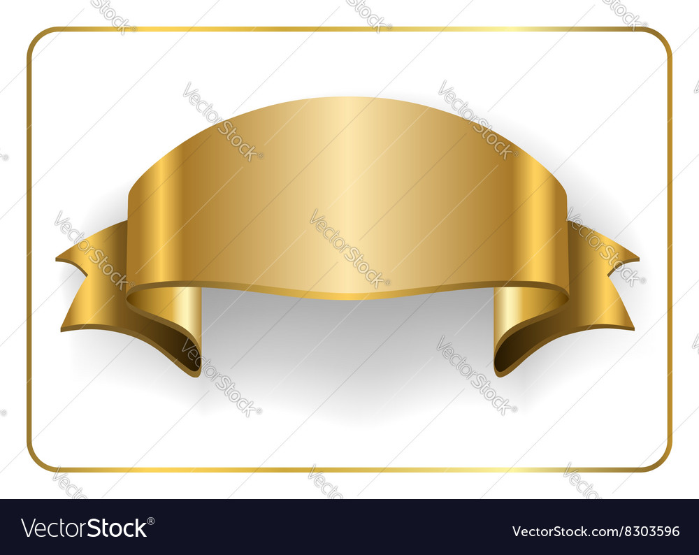 Gold satin ribbon on white 6 vector