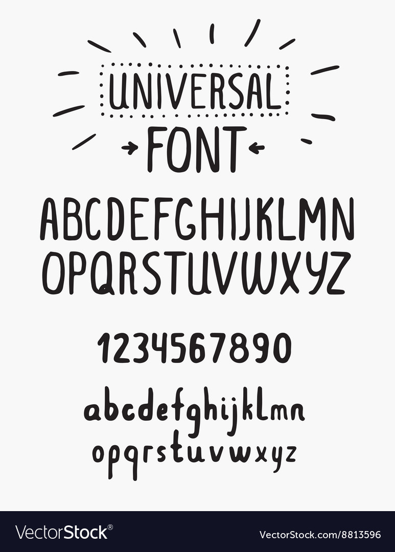 Line simple font universal alphabet with small and vector
