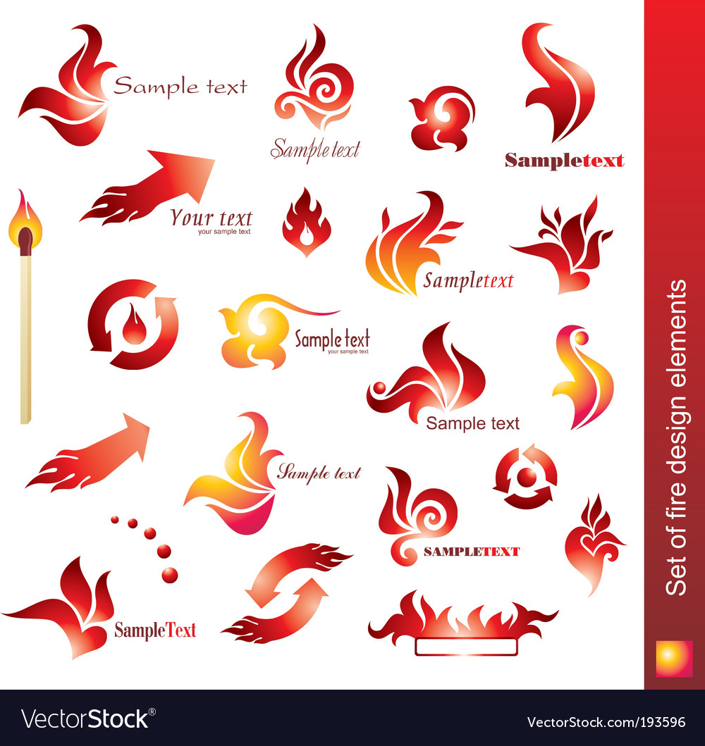 Set of fire design elements vector