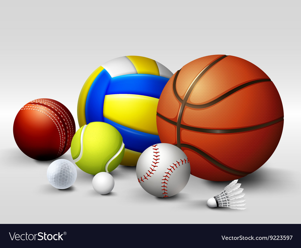 Different types of balls vector