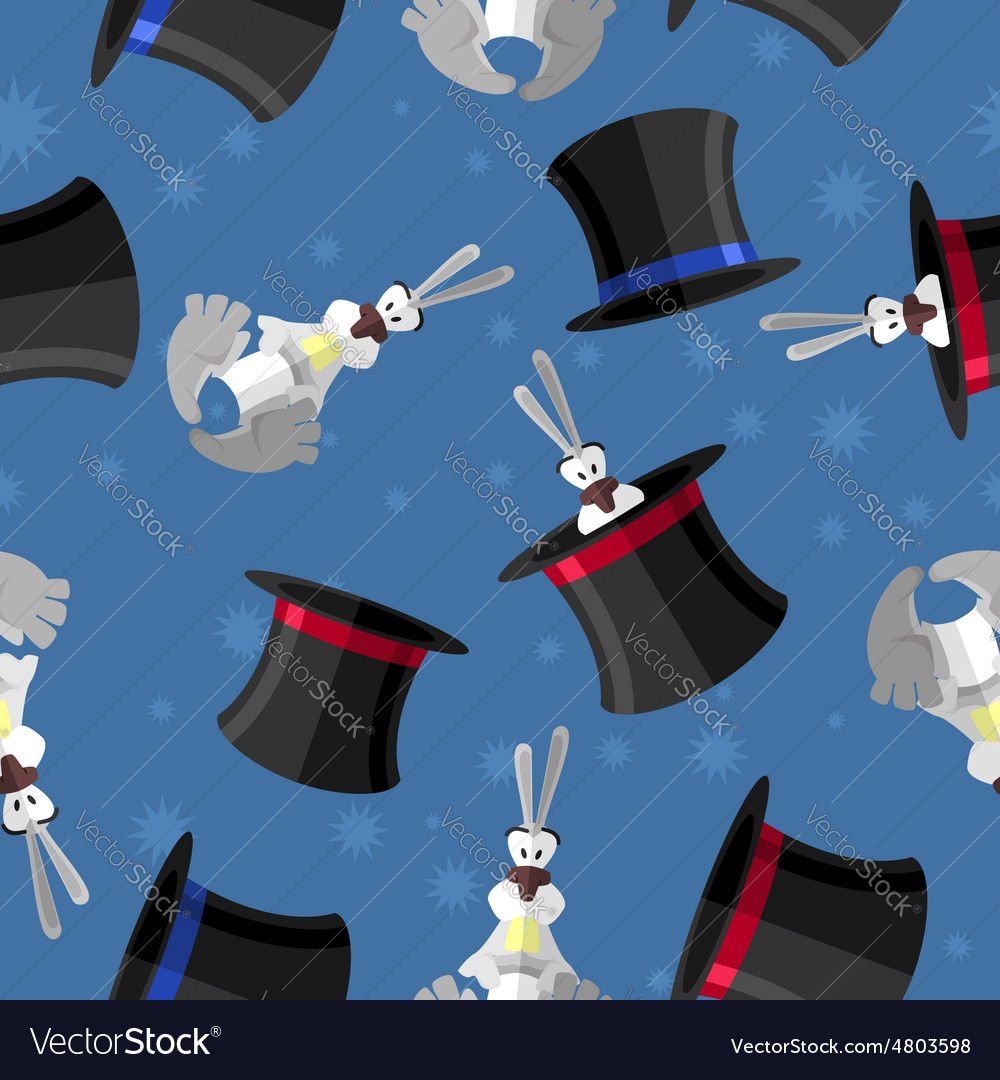Rabbit in hat seamless pattern background for vector
