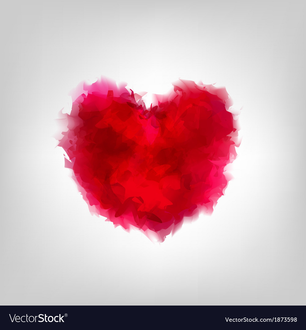 Red water color heart vector