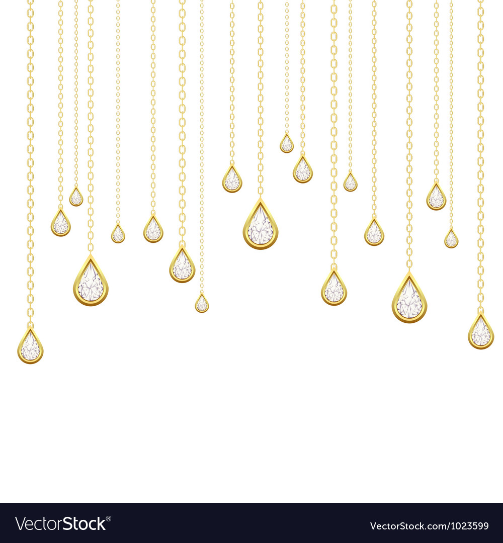 Golden drops with brilliants vector