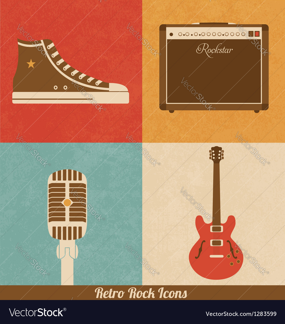 Retro rock icons vector