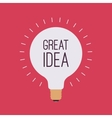 Light bulb with a title Great Idea vector image
