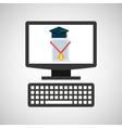 online education technology cap certificate vector image