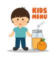 kids menu boy jar juice orange vector image