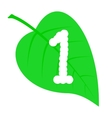 Figure one on a green leaf vector image