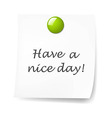 Blank Sticky Note With Green Push Pin vector image vector image
