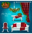 Classic interior of the hall with Christmas decor vector image