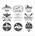 Kayak and canoe emblems badges design elements vector image